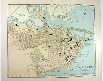 Original 1887 Map of Quebec City, Canada by Phillips & Hunt