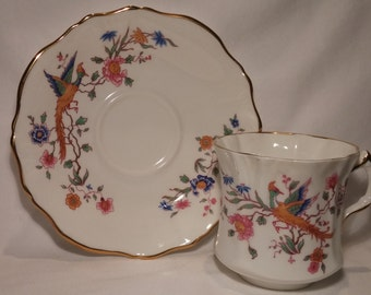 Vintage Hammersley Asiatic Pheasants China Tea Cup and Saucer