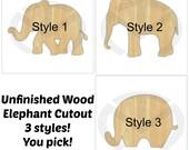 Unfinished Wood Elephant Door Hanger Laser Cutout, Door Decor, Nursery Decor, Various Sizes & Styles