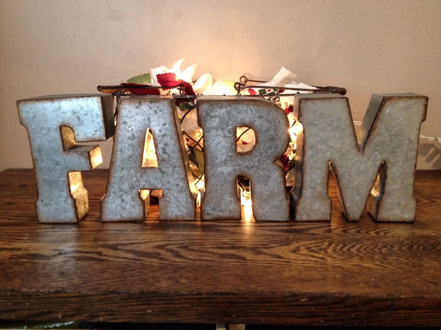 Large Galvanized Metal Farm Letters 3d Hanging Kitchen Wall