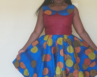 Blue and Burgundy with Green/ Brown/ Yellow African print/Ankara Dress