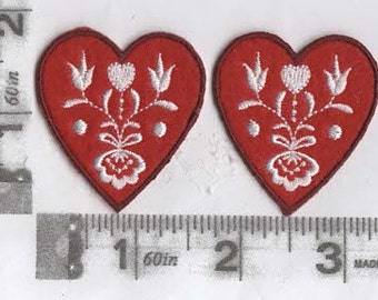 Pair of Red hearts with white embroidery iron on patches