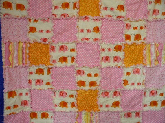 Pink And Orange Elephant Raggy Baby Or Toddler Quilt Elephant