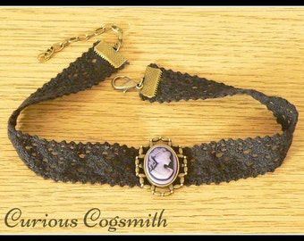 Purple Cameo Choker - Purple Cameo Necklace - Steampunk Choker - Steampunk Necklace - Victorian Choker - Victorian Necklace