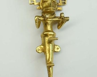 Pre Colombian Style Gold Tone Brass Tribal Figural Brooch