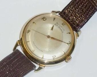60s Mens 14kt Gold Bulova Dress Watch 23 Jewel Automatic Self Winding Mystery Dial