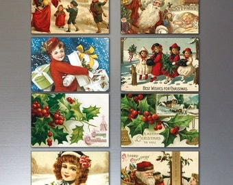 Traditional Christmas Victorian reproduction Fridge magnets