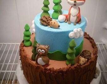 Handmade Edible Fondant Woodland Fox Hedgehog Owl Cake Topper Set