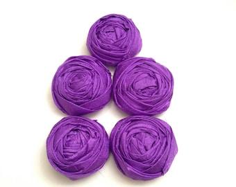 Purple Satin Rolled Rosette