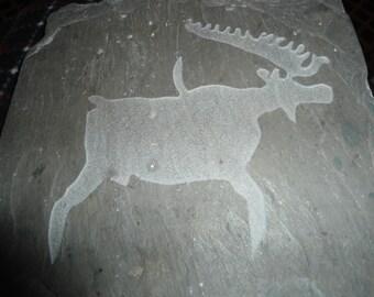 Vintage Carved Slate Moose Plaque