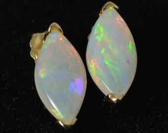 On Sale: 18K Gold, Solid Australian crystal opal earrings, nature opal, handmade earrings, OJD1025