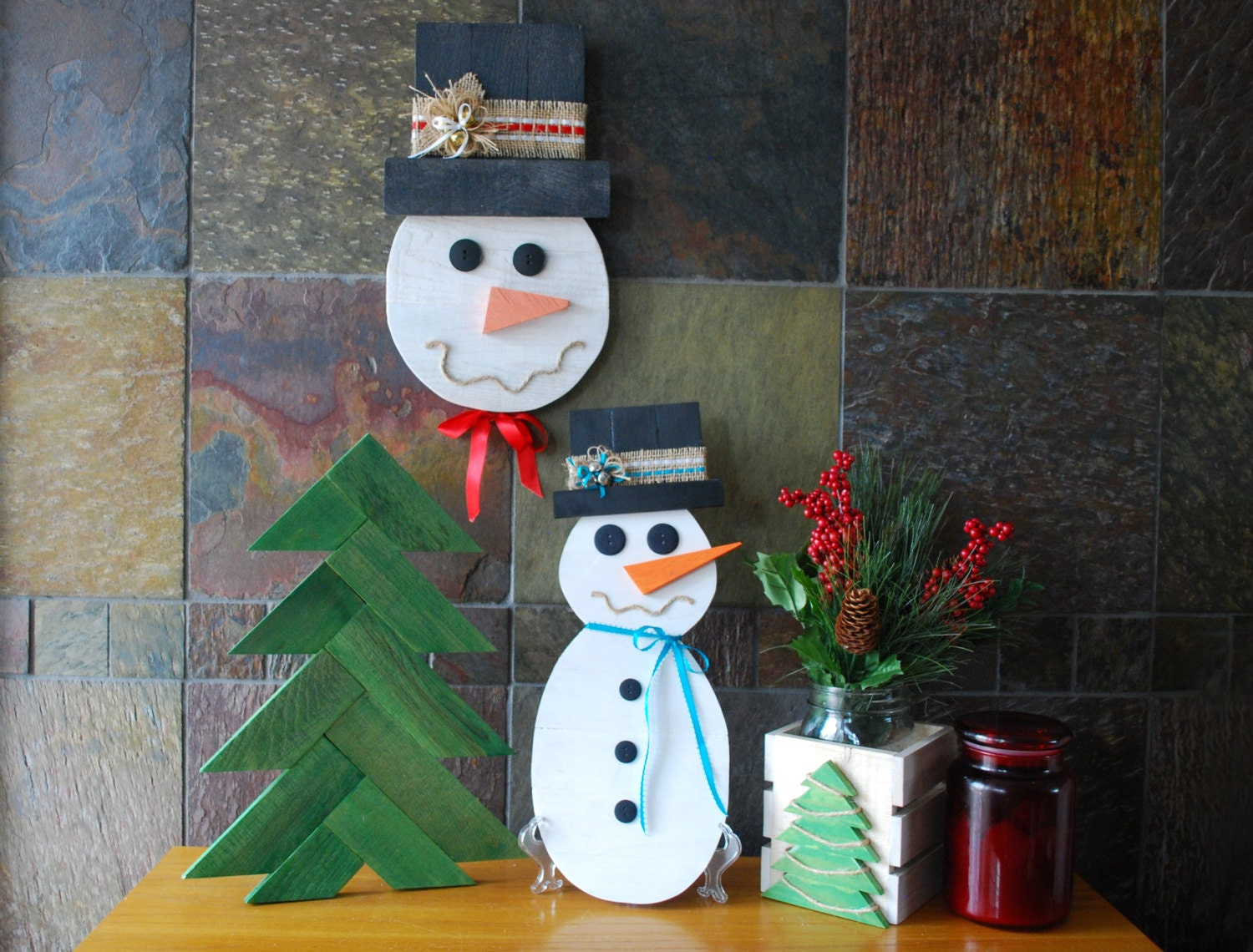 Rustic snowman pallet wood snowman rustic by landwcreations - How to make a snowman out of wood planks ...