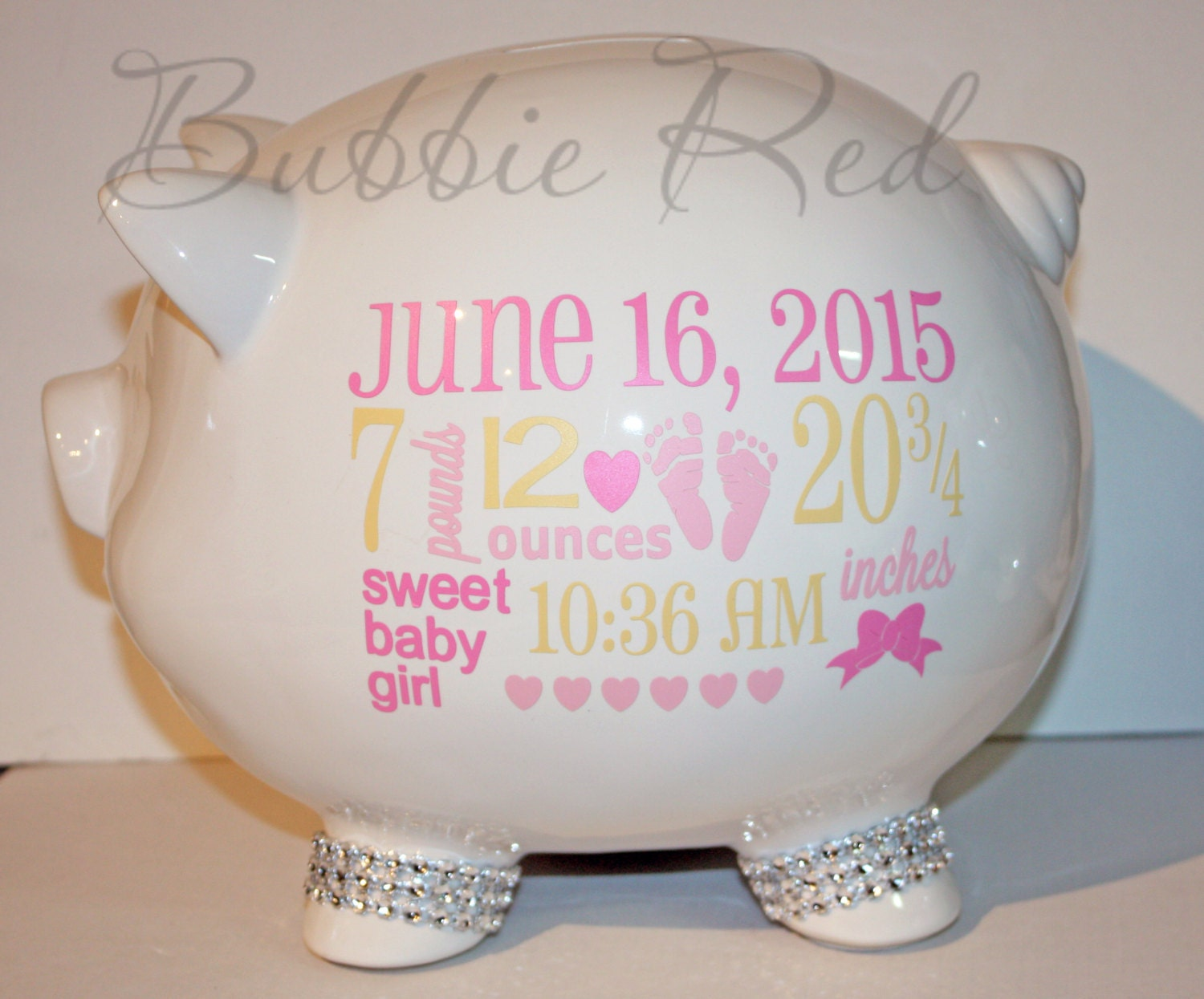 Baby Gift Piggy Bank : Personalized piggy bank baby birth stats gift girl