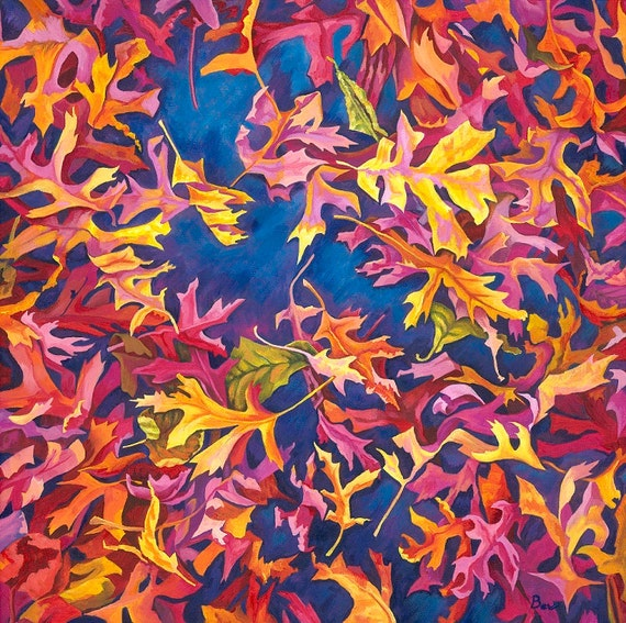 Into the Blue, Giclée  print 55X55cm from an original painting of autumn leaves in acrylic