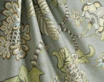 "50"" Two Rod Curtain drapery panels designer curtain P Kaufmann Clarice Dove blue grey green 50 x 84 72 96 108"