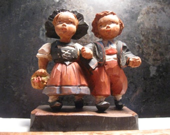 Vintage Hand Carved Boy and Girl Figures on Block of Wood One Piece Figure