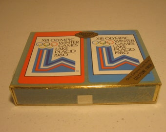 Vintage 1980 Olympic Winter Games Playing Cards New Sealed Double Deck XIII Olympic Lake Placid