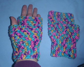 Crocheted Fingerless Gloves/Wristers/Texting Mitts - Handmade 1 Only Set