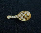 Reserved for Connie Please do not purchase if you are not Connie Vintage Tennis Racquet Tac Pin Rhinestone Tiny Scatter Pin Tie Tac