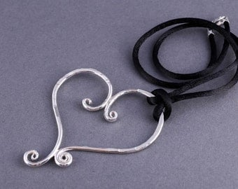 Sterling Silver Handmade Hammered Heart Necklace