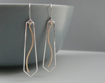 Silver Triangle Earrings with Gold Wave - mixed metal minimalist earrings, spiritual jewelry, Christian gifts
