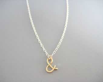 Gold Ampersand Necklace - with Delicate Sterling Silver chain, Mixed Metal Jewelry