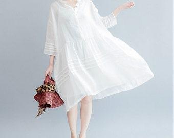 women linen loose dress/women summer leisure dress/women comfortable dress/women linen dress/XGOCT29N911