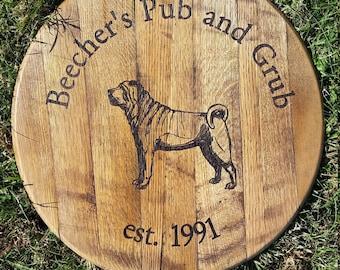 Pub or Restaurant Sign Bourbon Barrel Head