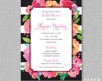 Striped Watercolor Bridal Shower Invitation