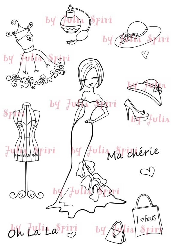Digital Stamp + bonus elements for cut,  Paris stamps, Parisian girl, Fashion stamps, Dress. The Paris Collection. Fashion in Paris.