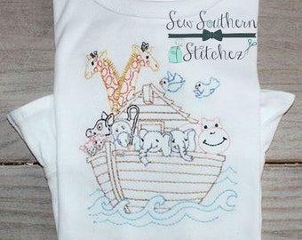 Sketched Noah's Ark ~ Vintage Stitched ~ Heirloom Stitched ~ Bean Stitched ~ Instant Download
