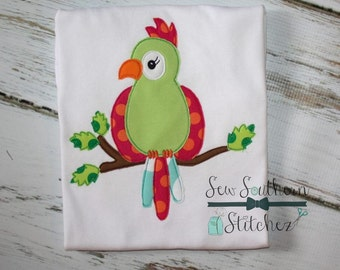 Raggedy Parrot Applique ~ Raw Edge ~ Quick Finish ~ Instant Download