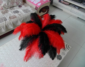 100 pcs red &black ostrich feather  for wedding table centerpiece    Samba accessories