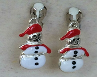 Funky Snowman - Christmas Novelty Clip On Earrings For Girls & Teens Drop Style Accessories