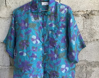 Shirt Vintage/ 90s/ woman/ floral design/ 100% silk/ green and purple/ size M