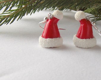Santa Claus hat earrings red christmas Santa Claus cap earrings polymer clay Christmas gift for her funny Christmas present winter jewelry