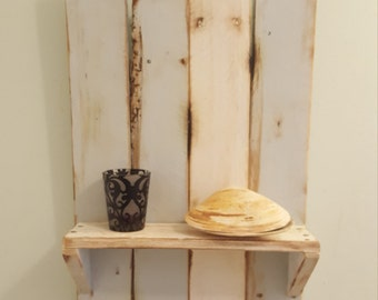 Pallet Wood Shelf, Island Decor, Home Accents, Shabby Chic, Light Blue Colored, Distressed Look, Rustic Made, Gift Idea, Wall Hanging, Paint