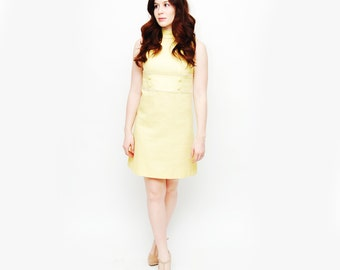 Vintage 60s Yellow Mod Dress SMALL