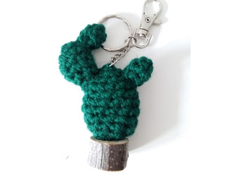 Crochet cactus bag charm  - hanger cactus with wooden pot - funny keychain - cactus accessory