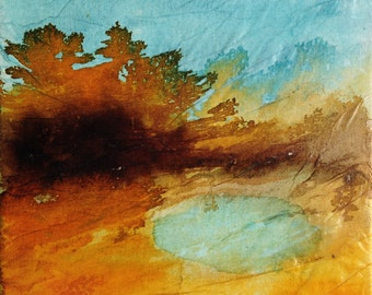 The little lake, original painting, ink and collage on canvas, abstract landscape