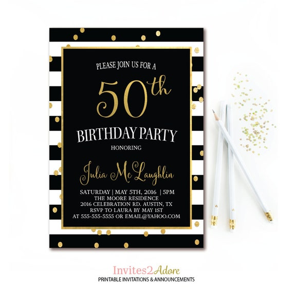 black white stripe birthday invitation gold confetti printable