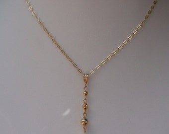 Gold chain, Y necklace, freshwater pearl and balls, 585 gold filled,