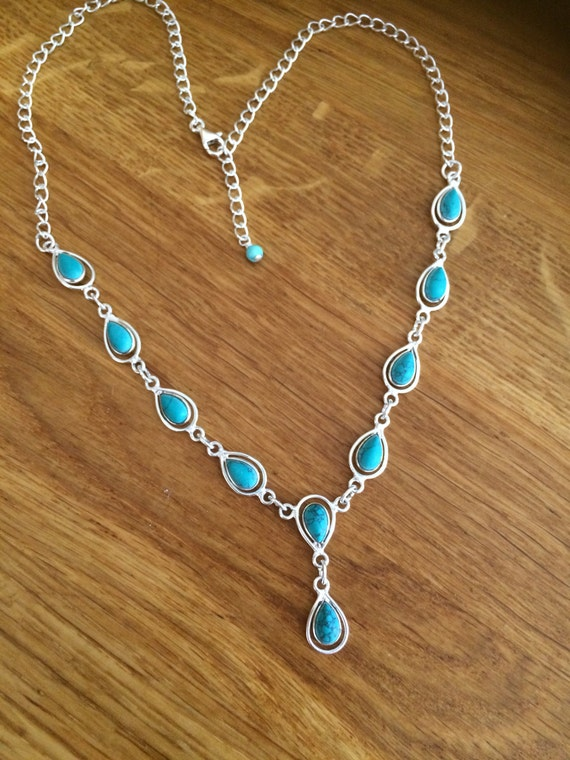dainty turquoise necklace sterling silver blue turquoise On dainty sterling silver jewelry