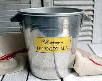 Vintage French DE VAUZELLE Champagne Ice Bucket Metal Wine Cooler Vintage Ice Bucket Le Trefle