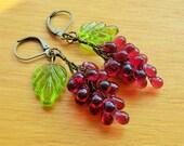 Grape earrings, 30's 40's inspired, czech glass fruit earrings, Grapes
