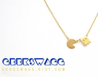 Packman Necklace, GEEK necklace, gifts for geeks, geek girl