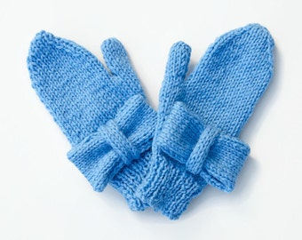 Kids Gift - Kids Knit Accessories - Kids Gloves / Mittens - Stocking Fillers - 4 to 6 Year Old - Blue Girls Gloves  - Winter Accessories