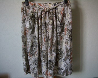 Vintage full skirt was, boho, hippie, reason safari, Vintage 1960, size M / 42,