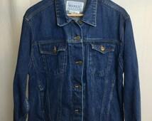 "Vintage Denim Six Pocket Blue Jean Jacket ""Punky"" Size Large"