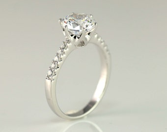 2 Carat Engagement Ring - Solitaire Ring - Round Cut Ring - Promise Ring - 6 prong - Stimulant Diamond CZ - Solid Sterling Silver Ring